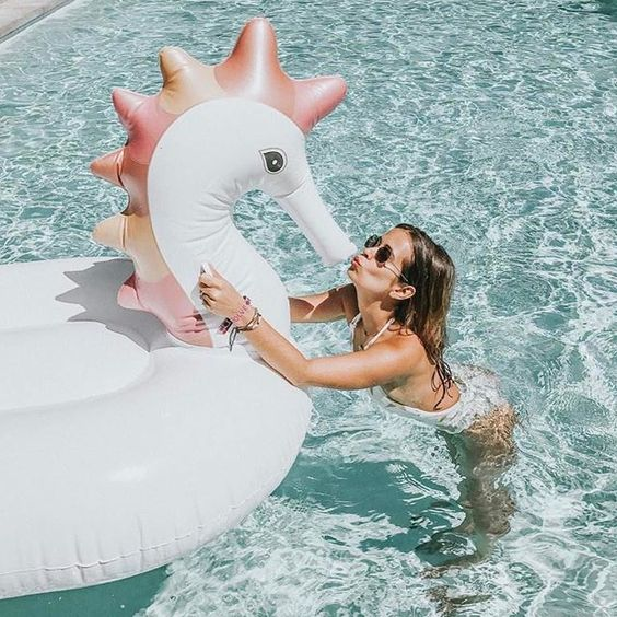 white seahorse float with pink details