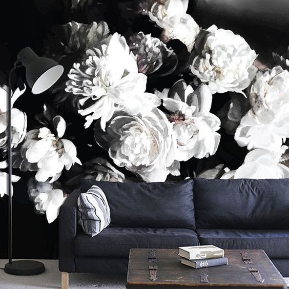 moody black and white floral wallpaper makes a statement