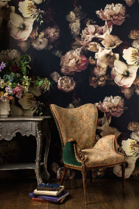 moody floral wall in a refined vintage living room