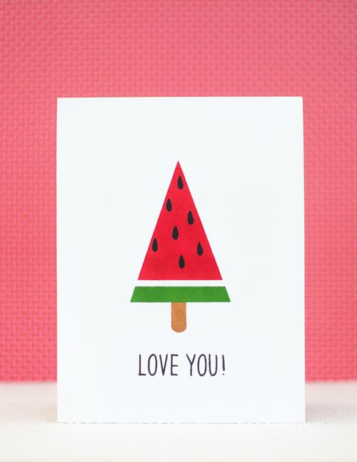 DIY watermelon popsicle card (via https:)