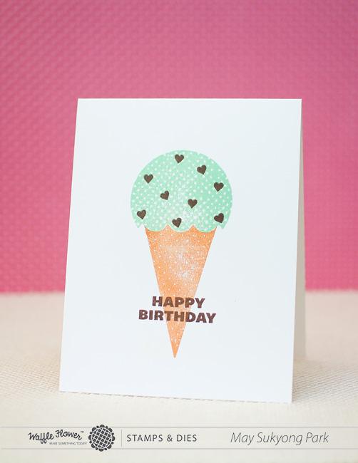 DIY mint ice cream cone card (via https:)