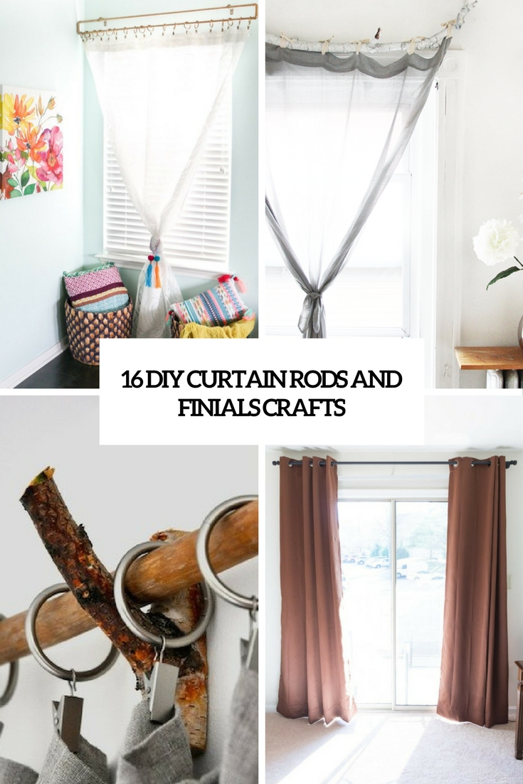 16 diy curtain rods and finials crafts