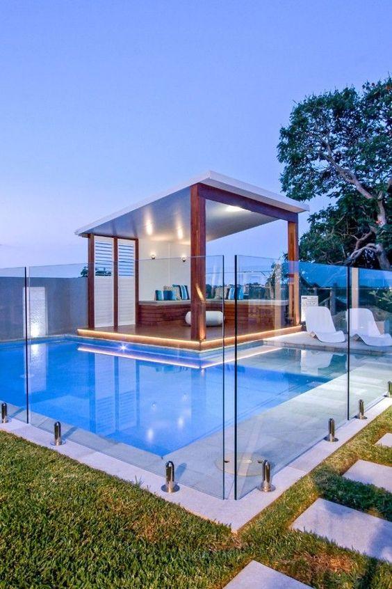 25 Stylish Pool Cabana Décor Ideas - Shelterness on Small Pool Cabana Ideas id=67762