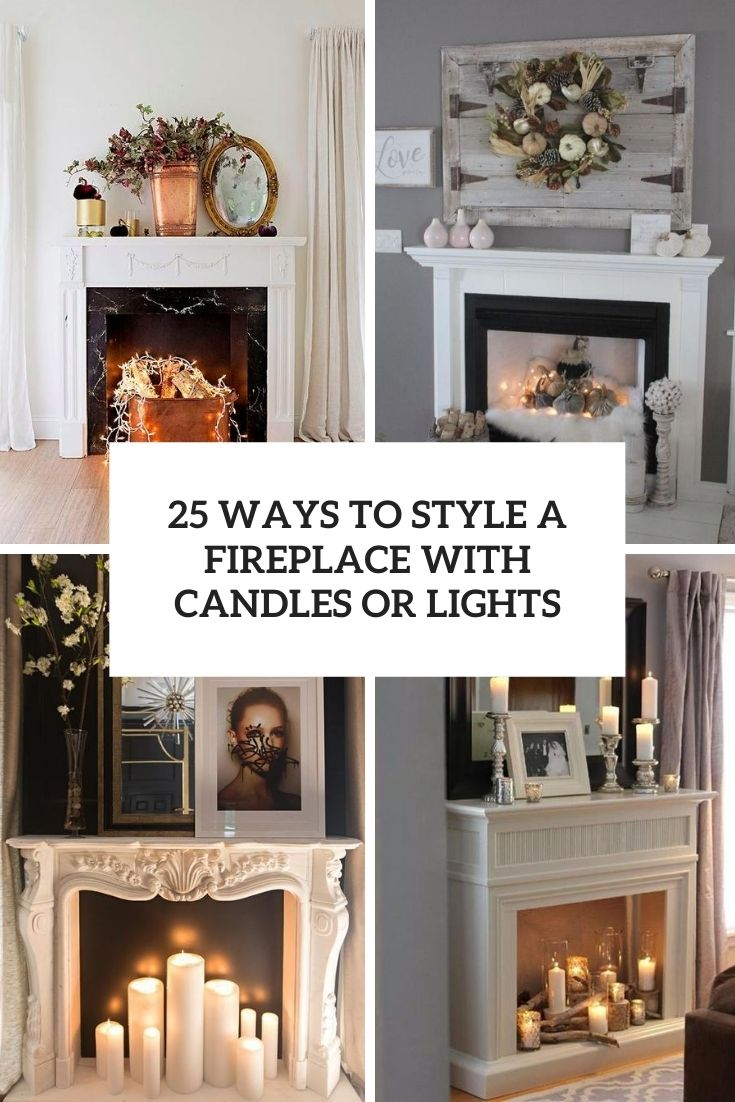 a fireplace with candles or lights