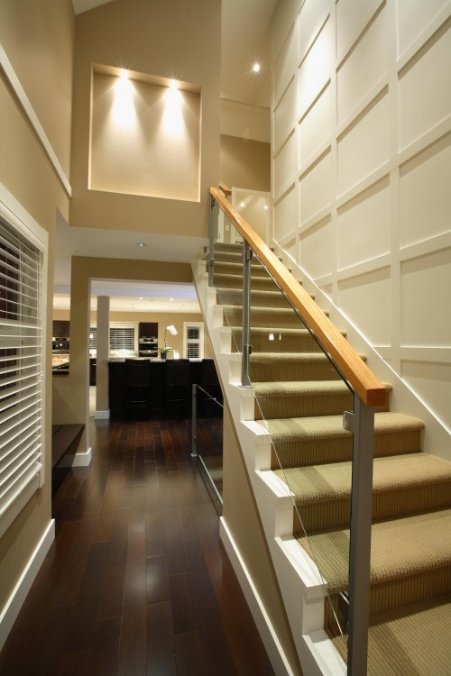 43 Cool Carpet Runners For Stairs To Make Your Life Safer | Carpet For Bedrooms And Stairs | Modern Staircase | Staircase Remodel | Dark Grey Carpet | Stair Railing | Stair Treads