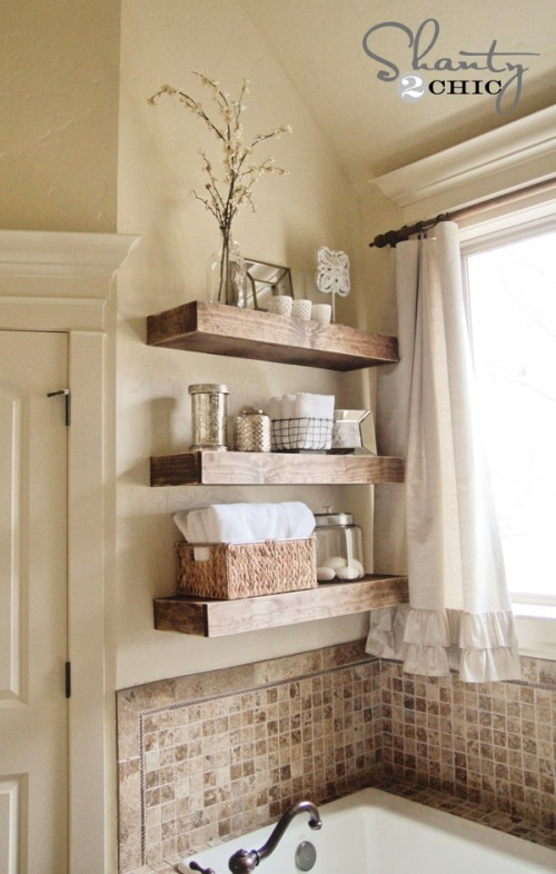 17 diy space-saving bathroom shelves and storage ideas - shelterness