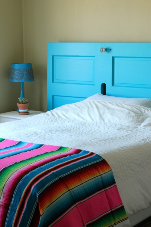 how to turn a front door into a headboard - shelterness