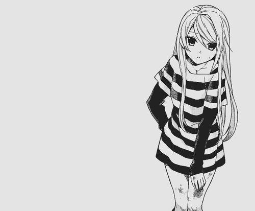 image manga fille noir et blanc 8