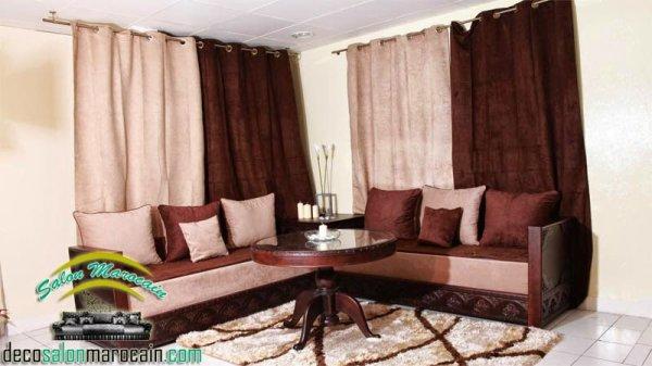 salon marocain moderne beige marron