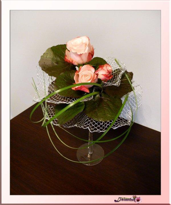 Roses Sur Verre Pied Art Floral Bouquet Crations