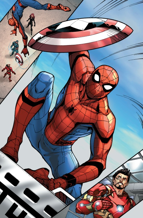 marvel-spider-man-homecoming-preludio-el-encuentro-de-spidey-y-iron-man-spidey-debut