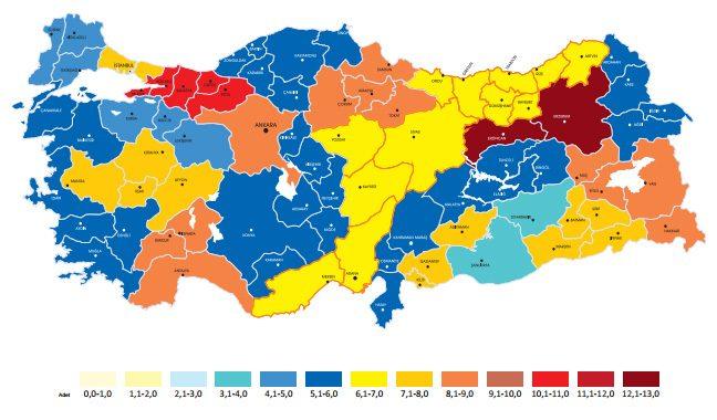 2011 yılında hazırlanan Türkiye Okuma Haritası, hangi ilin yılda ortalama kaç kitap okuduğunu gösteriyor. Kanyak: Kültür Bakanlığı