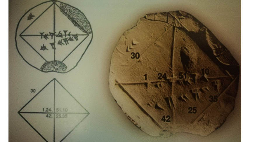 İbrahim Okur: MÖ 17. yüzyıldan kalan bu Sumer tableti kök 2'nin nasıl hesaplandığını göstermektedir.