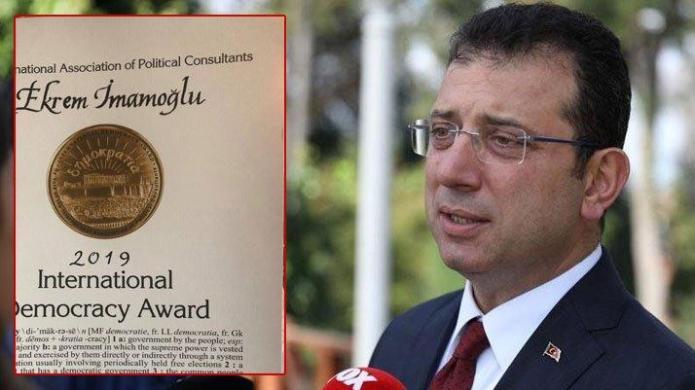 İmamoğlu'na uluslararası demokrasi madalyası