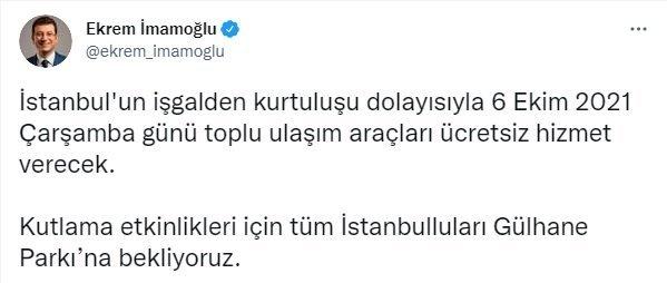 Bugün İstanbul'da toplu taşıma ücretsiz mi? Otobüs, metro, metrobüs saat kaça kadar ücretsiz?
