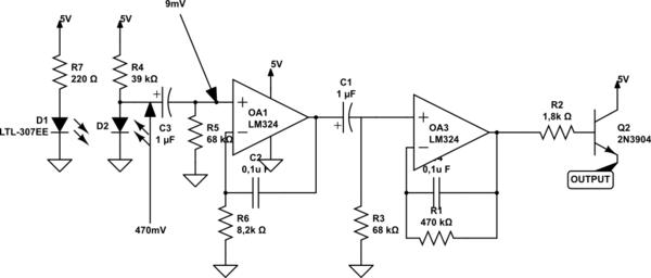 Unknown Voltage In IR Pulse Sensor Circuit