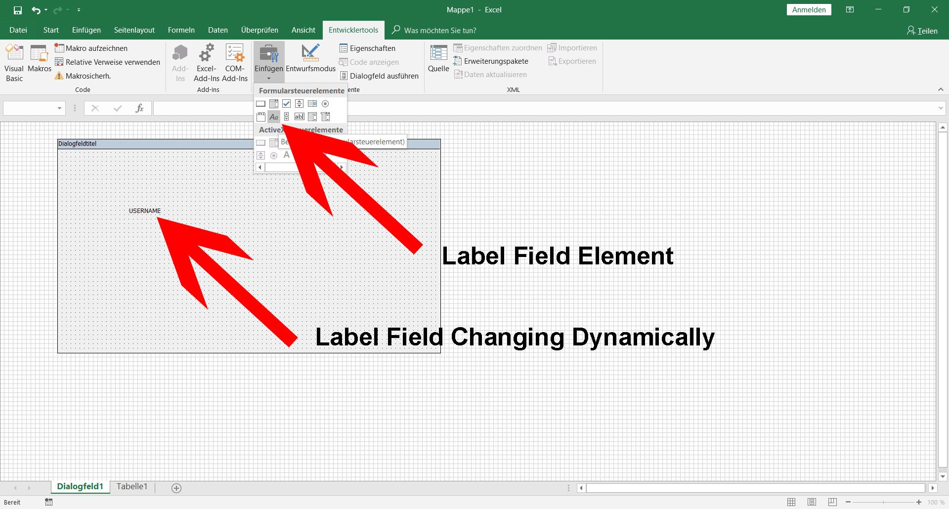 Make Label Dynamic On Excel Vba