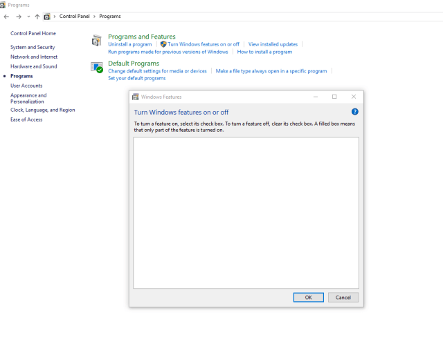 installing IIS on windows 13 uisng Turn windows features on or off