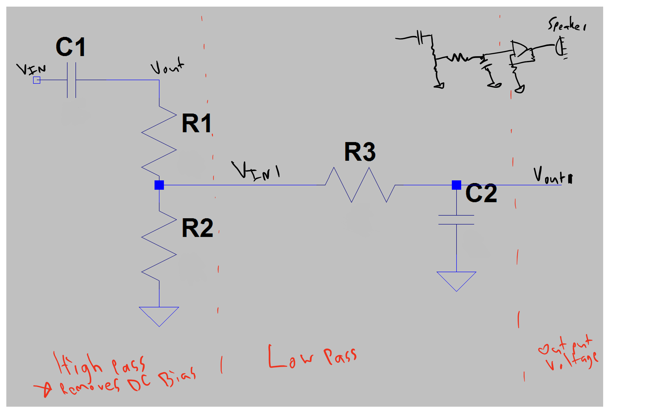 How To Calculate The Frequency Cutoff For A Highpass Filter Which Goes To A Low Pass Filter