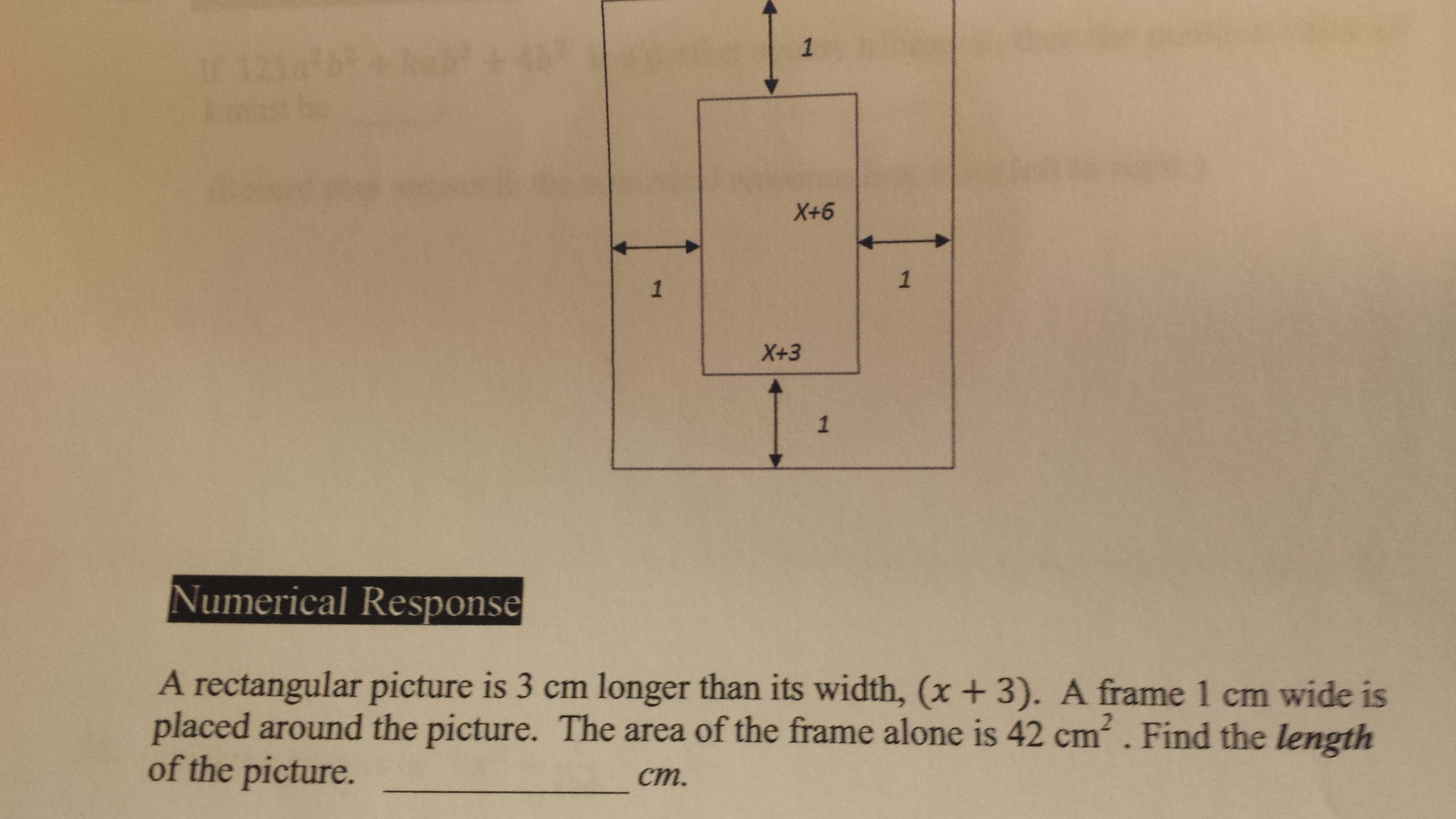 Algebra Precalculus Find The Length Of Rectangle Based