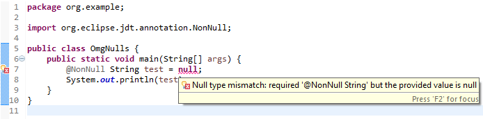Eclipse Custom Nonnull Annotation Ignored