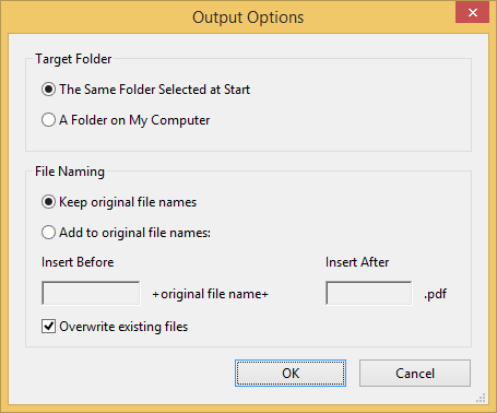`Output Options` dialog: kept the settings, then pressed `OK`