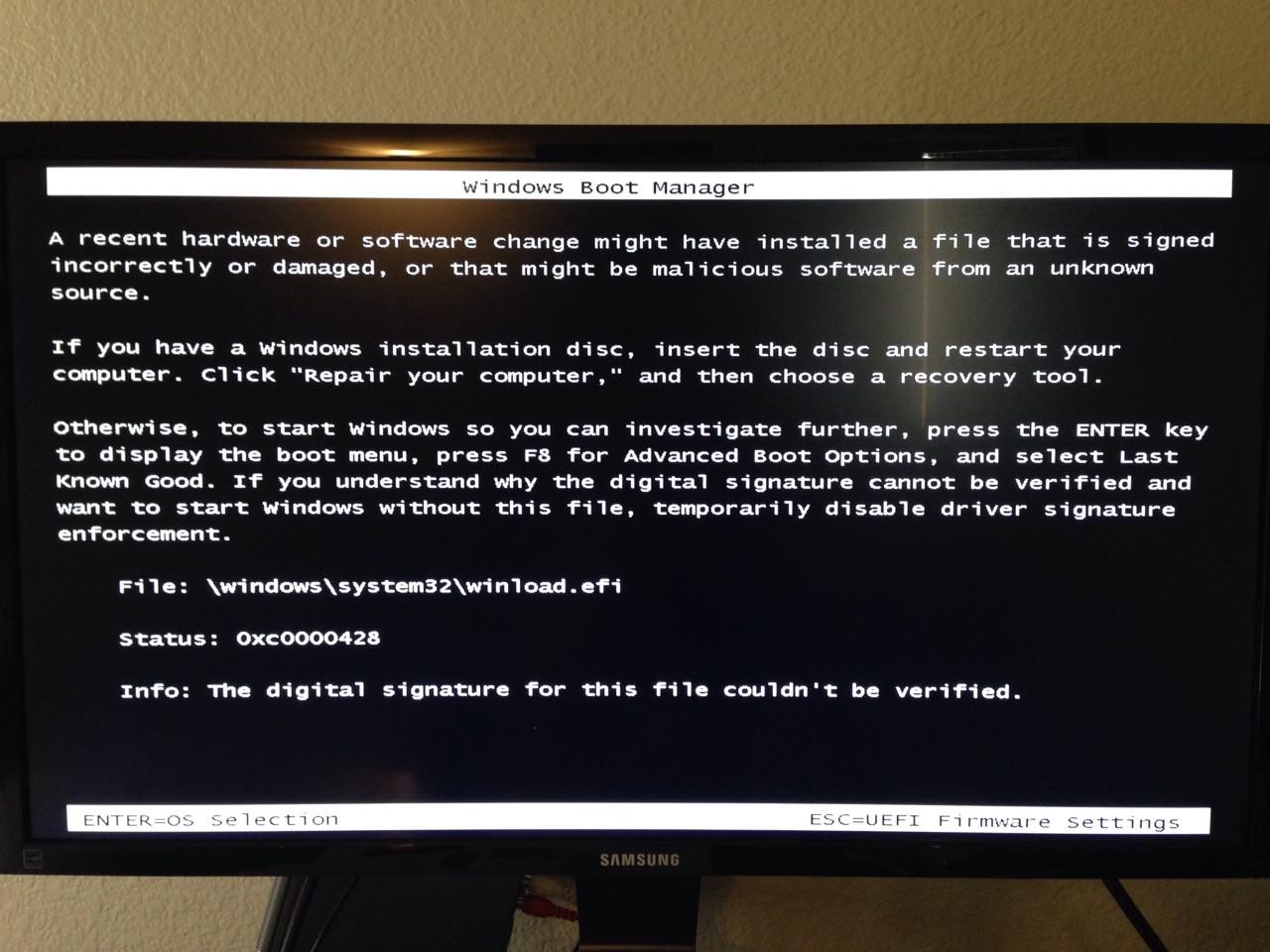 winload.efi corrupted after windows 10 installation - Super User