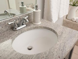 the sink counter and bathroom floor