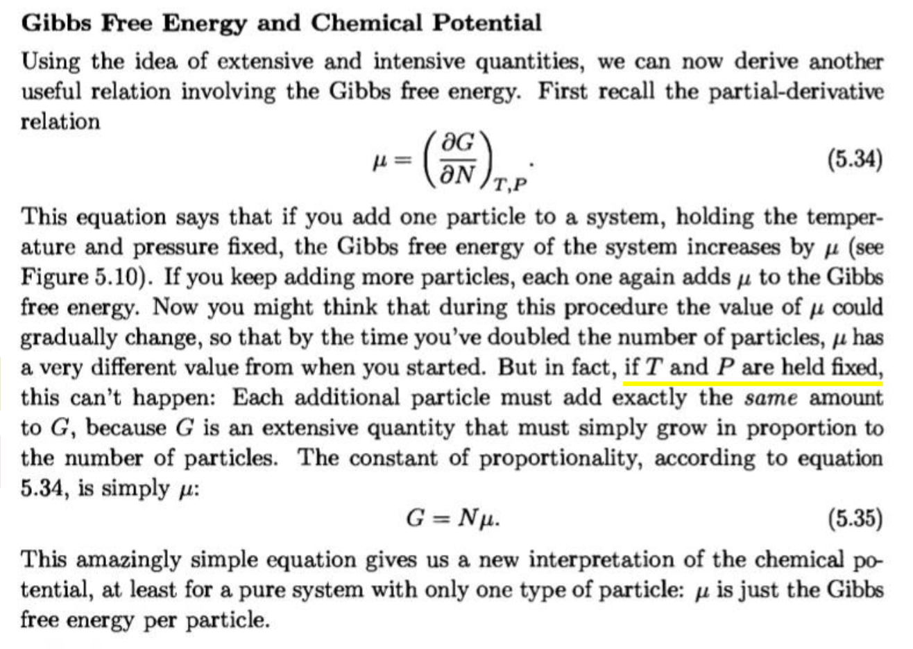 Proportionality Between Gibbs Free Energy And Number Of
