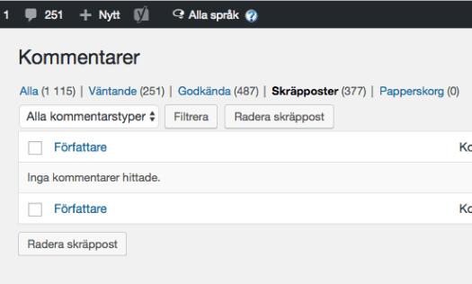 Swedish WordPress Admin, displaying all languages.
