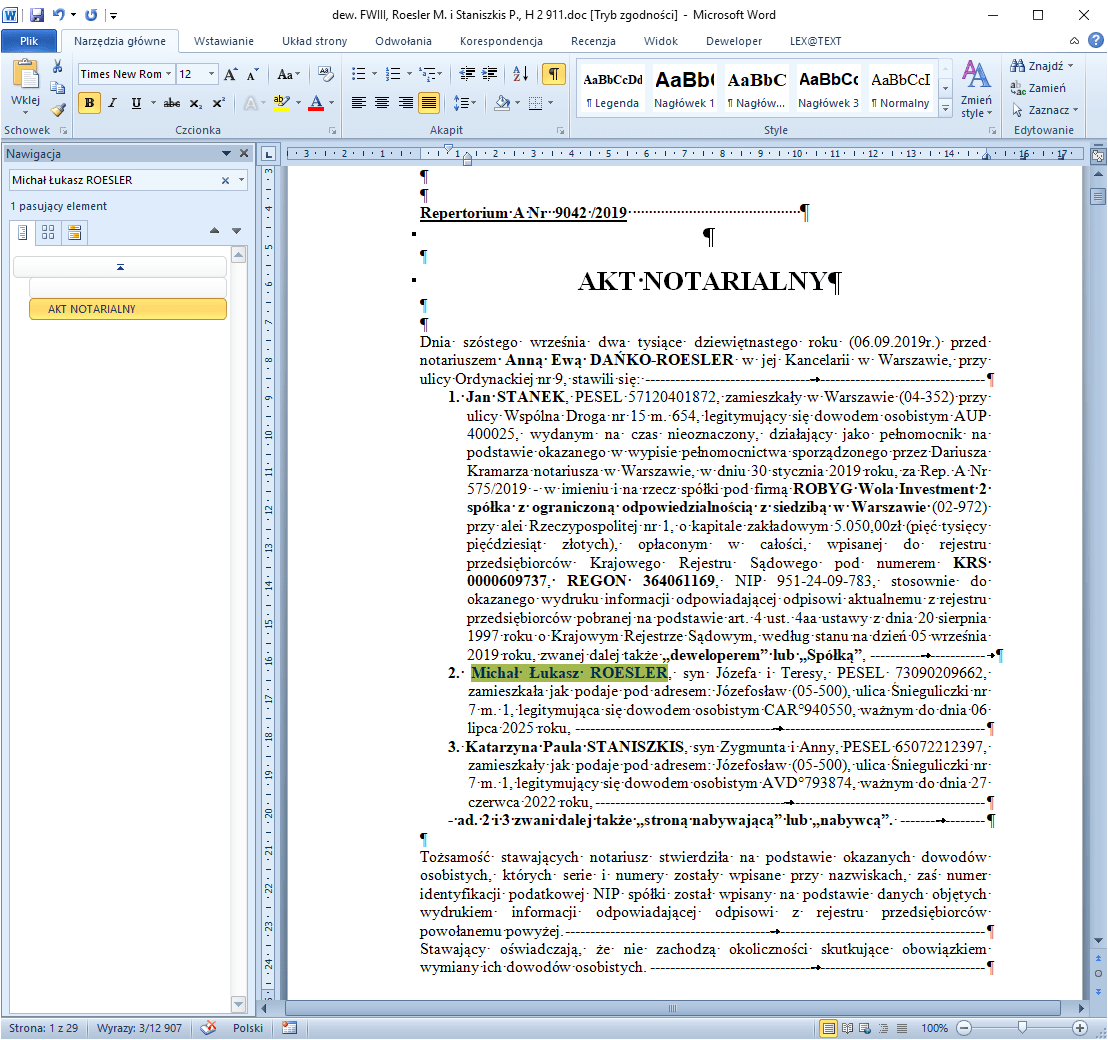 Find Unknown Name And Surname In Opened Word Document