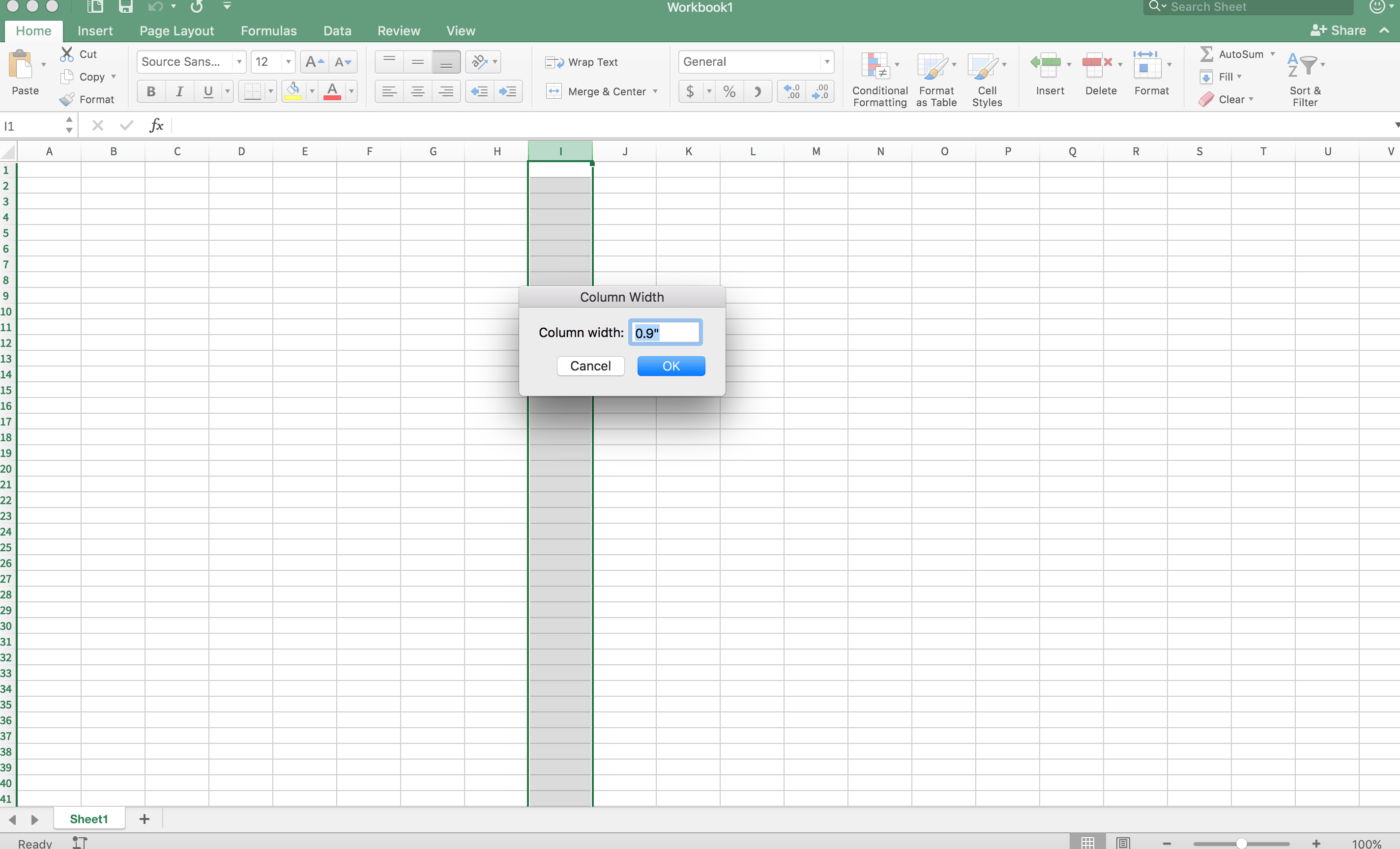 Did Excel For Mac Change Its Column Width Specifications From Inches To Something Else