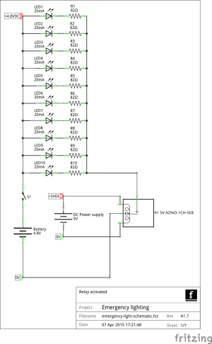 LED emergency lighting  relay activated  Electrical