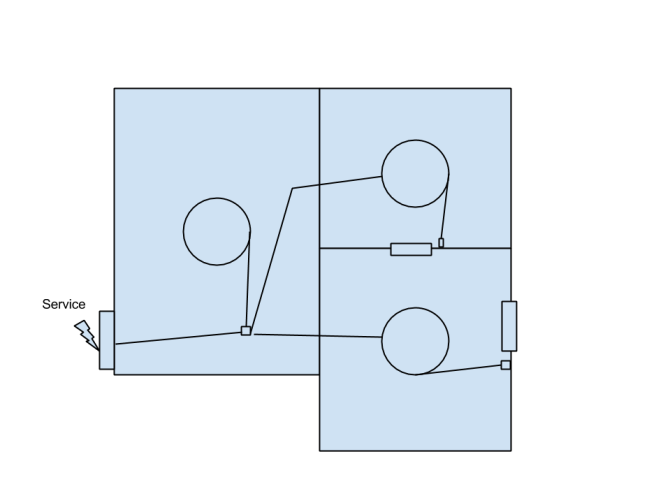 wiring diagram to split one circuit for ceiling lights in