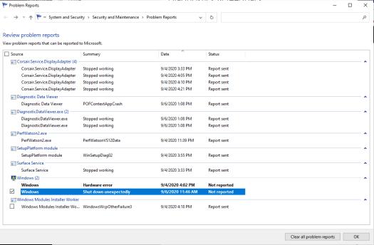 Screenshot of Problem Report Viewer