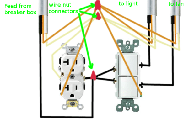 How To Wire A Bath Ceiling Fan Light Combo With 1 Switch ...