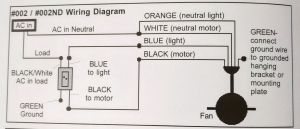 Wiring a ceiling fan with black, white, red, green in
