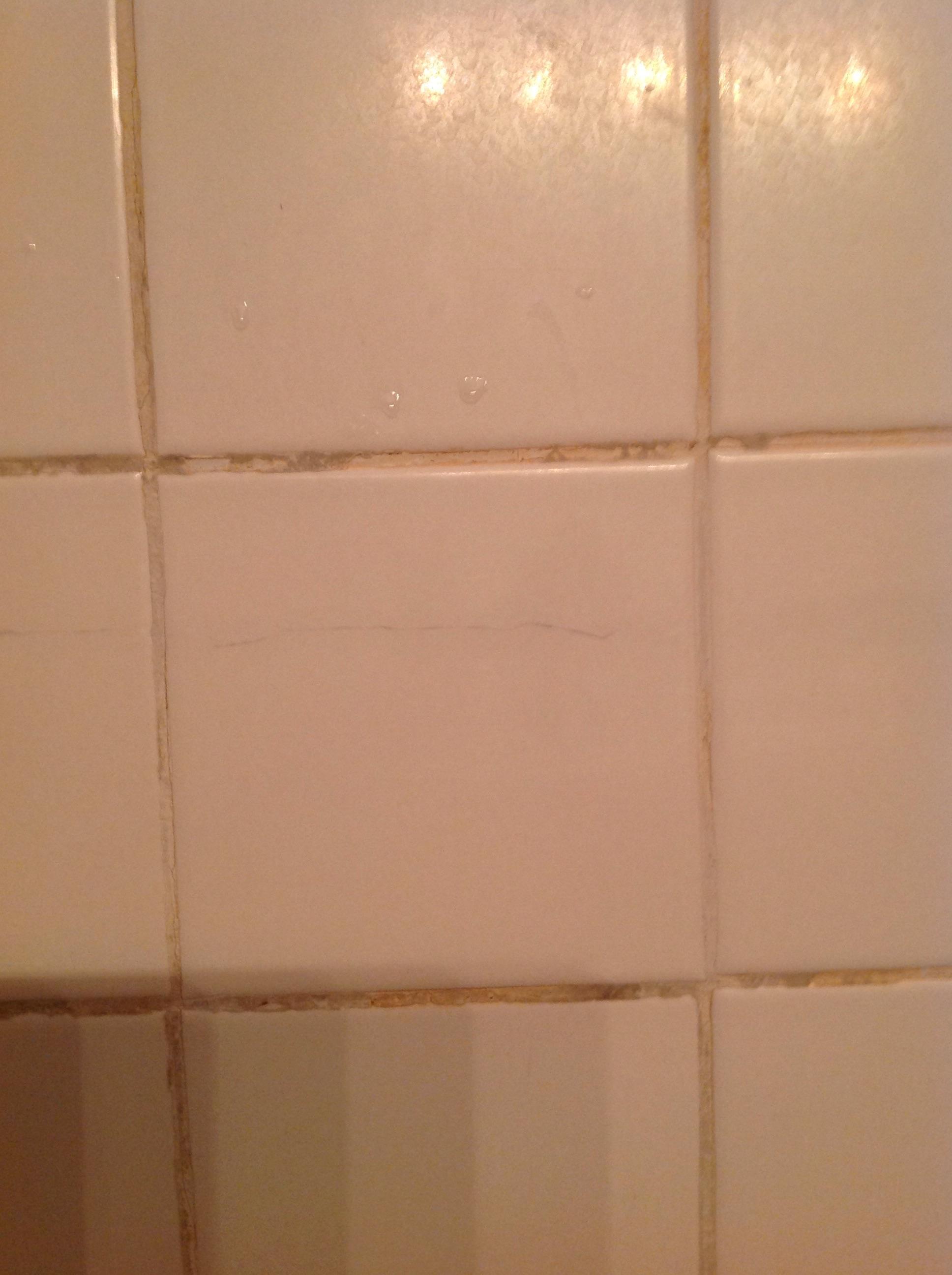 Repair Cracked Bathroom Tile Runs Almost Entire Length