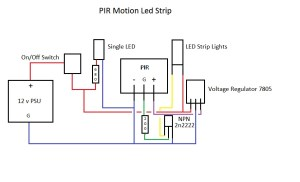 transistors  12v LED Strip Lights controlled by PIR *Want