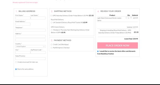 Frontend Checkout page
