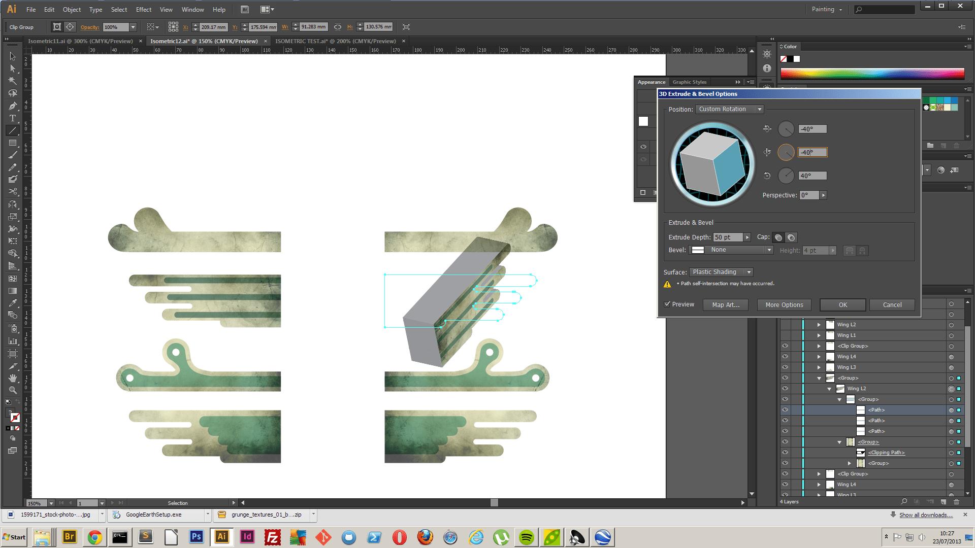 Illustrator 3D Extrude And Bevel Problem Graphic Design