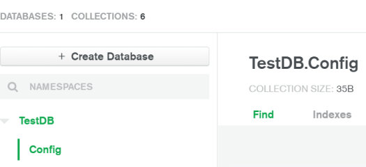 TestDB database and Config collection
