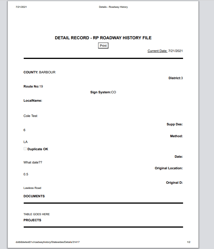 page when printing