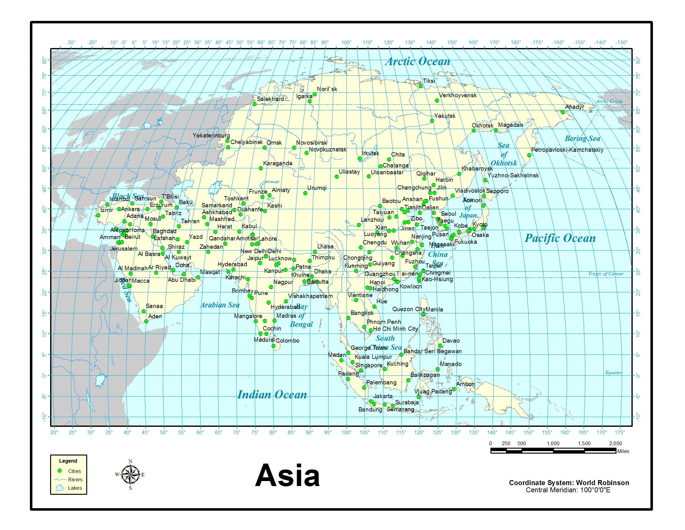 Asia Map With Latitude And Longitude
