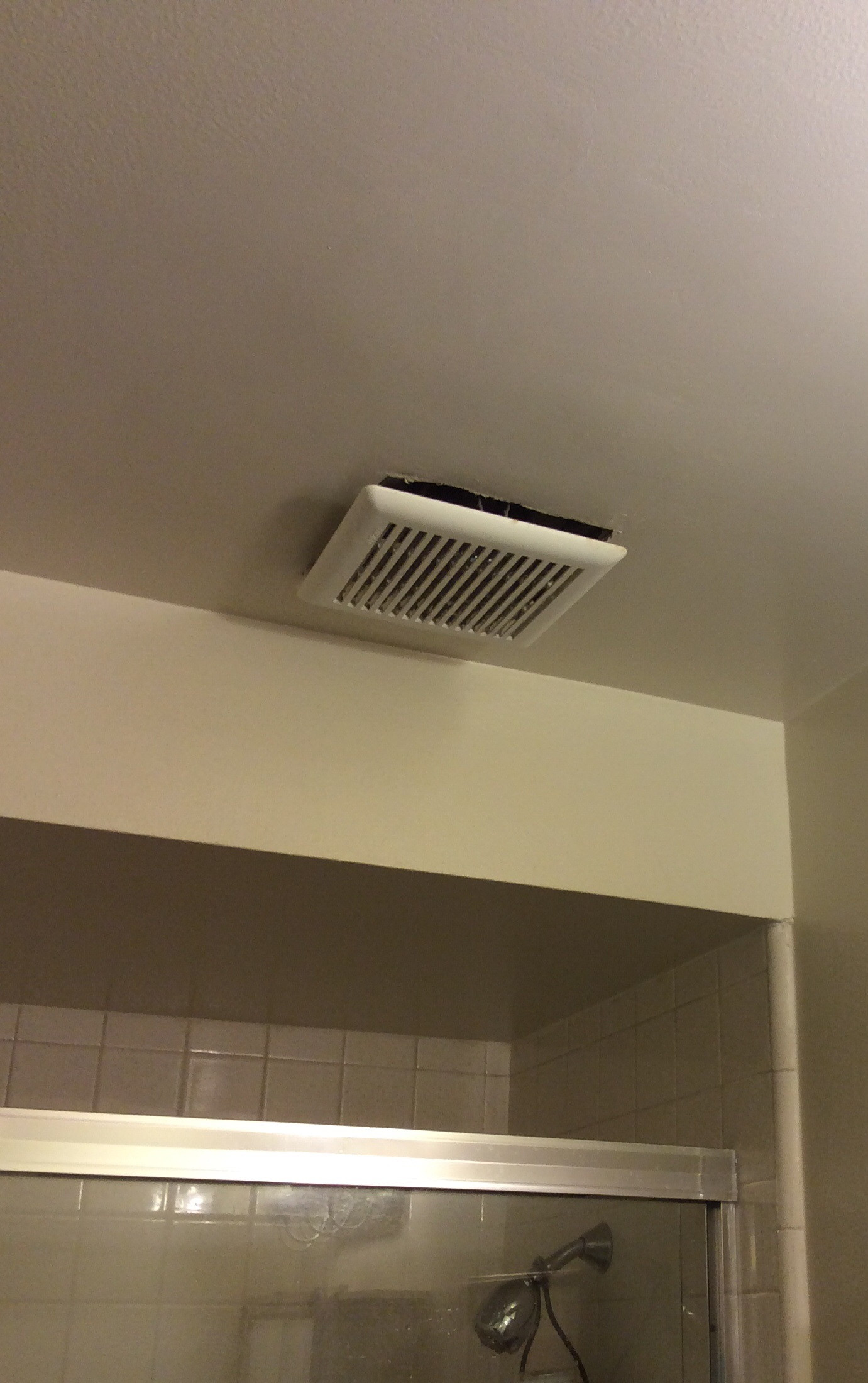 Is It Normal For An Exhaust Fan Cover To Hang Below The Finished Ceiling Home Improvement Stack Exchange