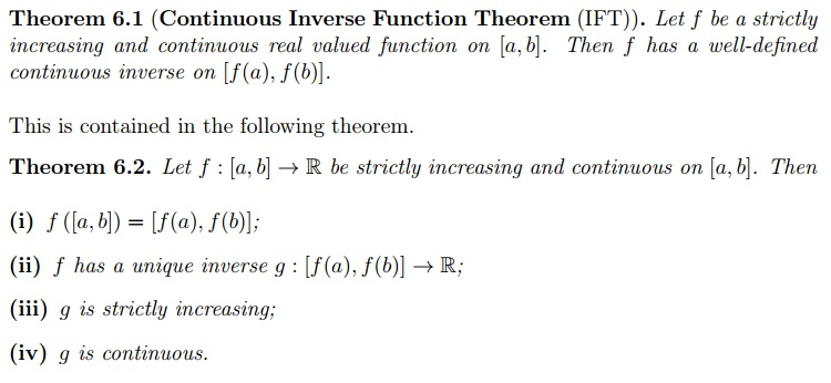 Real Analysis Continuous Inverse Function Theorem And