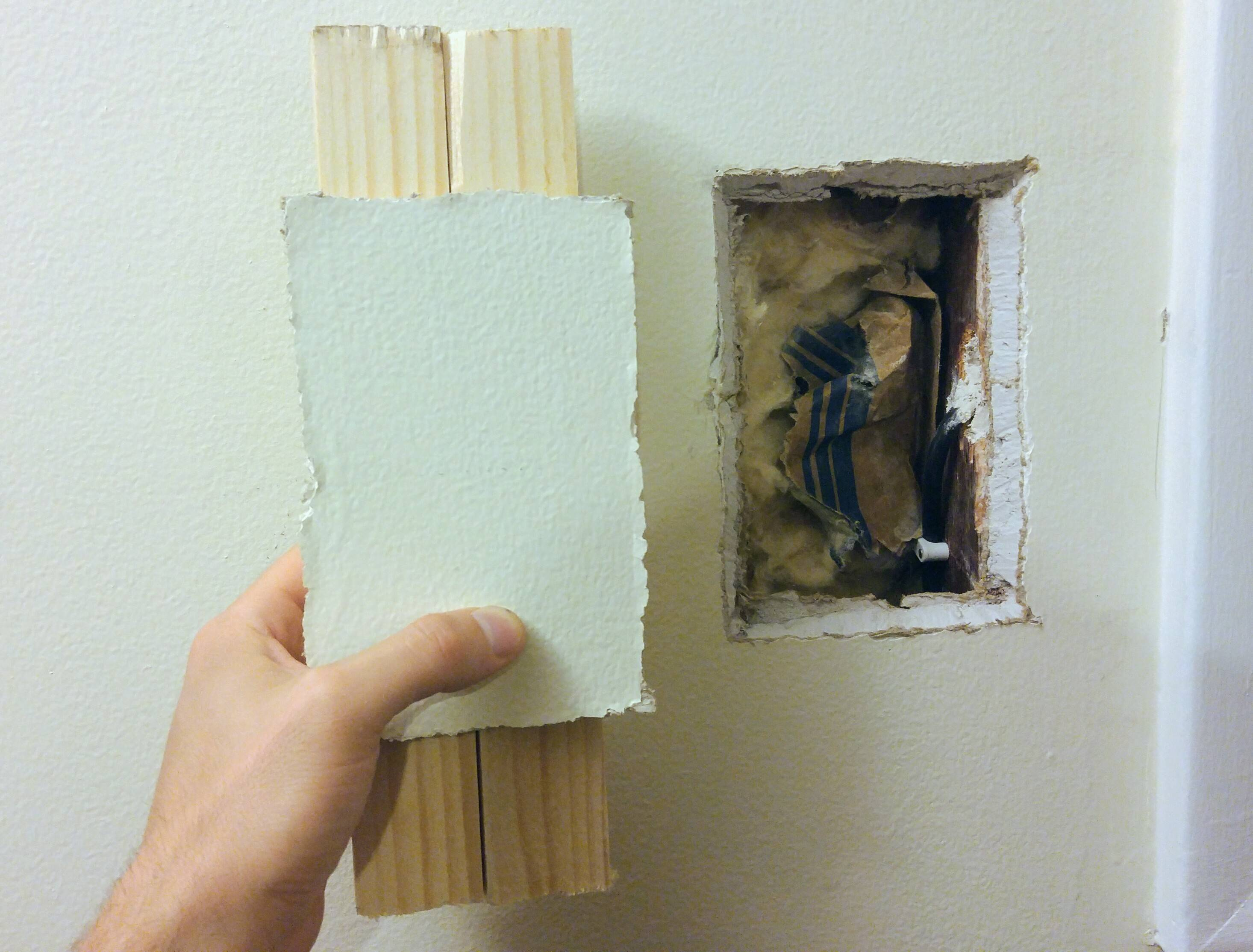 Patching Small Medium Drywall Hole With Wall Cutout Home Improvement Stack Exchange