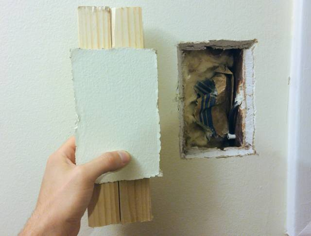 Patching small-medium drywall hole with wall cutout - Home