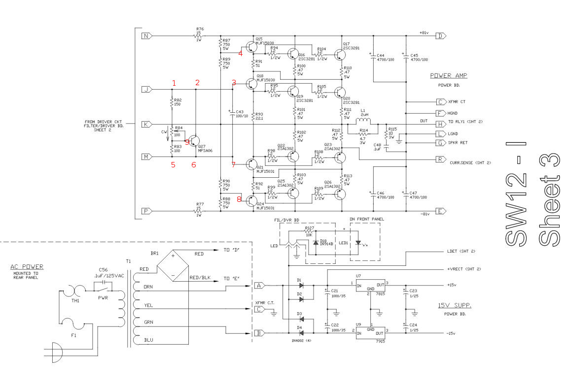 Transistors setting the bias for the power section of an audio