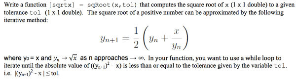 matlab - Solving for the square root by Newton's Method ...